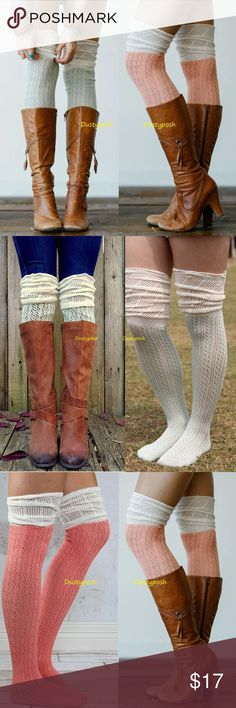 Crochet Over The Knee Socks Peach Blue Thigh High Long soft cotton crochet over the knee socks. One pair new never worn, choose from flamingo and white or blue and white. Not Hue brand but still soft and cozy. I'm sure you will love them. These are long enough to wear over the knee for most or push them down below your knees and rock them as scrunchy knee highs. 1  pair for $17 or 2 for $29. HUE Accessories Hosiery & Socks