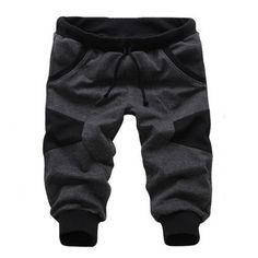 Sale 14% (15.3$) - Mens Korean Splice Casual Short Sport Pants