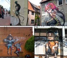 Surreal street art by German duo Herakut. LOVING her sketchy structures and his photo-realistic details!