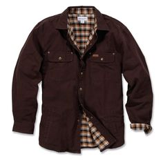 Carhartt 100590 Weathered Canvas Shirt Jacket Dark Brown - Size: XL *One Size Only - Outlet Store* - Outlet Store from M.I. Supplies Limited UK