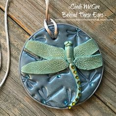 Dragonfly, Polymer Clay, Pendant, Shimmering, Blue, Green, Hand-Made, Unique Design