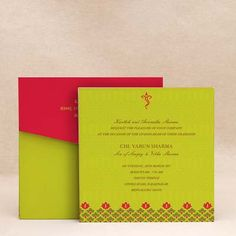 Thread Ceremony Invitations Lotus Blessing Red wedding cards