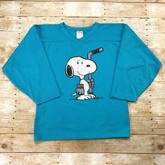 Vintage 90s Snoopy Hockey Sweater Teal Jersey Made in Canada Mens Size Small