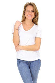 Majestic filatures - T-Shirts - Abbigliamento - T-Shirt in viscosa elasticizzata con scollo a V.La nostra modella indossa la taglia /EU S. - 001 - € 85.00