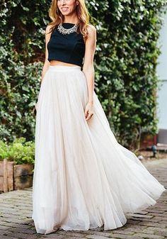 Jupe longue tulle tutu taille haute mode la longueur du sol blanc femme