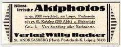 Original-Werbung/ Anzeige 1924 - AKTFOTOS / VERLAG WILLY HACKER / ST…