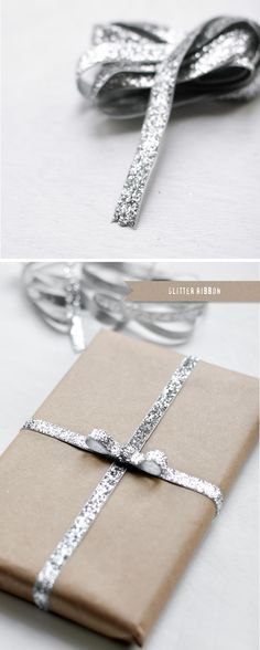 Simple but effective >> Gift Wrapping and packaging ideas Holidays Christmas Packaging Gifting Phoenix Photographer Glitter Ribbon Present Wrapping, Wrapping Ideas, Holiday Fun, Christmas Holidays, Christmas Crafts, Christmas Presents, Merry Christmas, Holiday Gifts, Diy Gifts