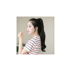 Claw-Clip Long Ponytail - Curly (34 NZD) ❤ liked on Polyvore featuring accessories, hair accessories, hair, hairstyles, wig, long hair accessories and gabalnara