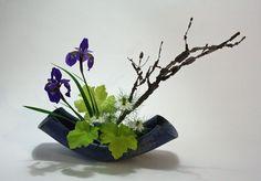 Moribana with iris, nigella, heuchera and euonymous