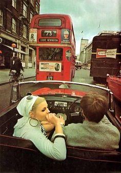 Swinging London, driving an MG. Vintage London, Old London, London Bus, London City, London Street, Swinging London, Photo Vintage, Vintage Love, Vintage Photos