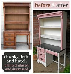 Chunky Desk & Hutch in off white, pink & brown - before & after. From Facelift Furniture's DIY Blog.