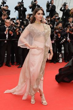 """Sonam Kapoor Photos - Sonam Kapoor attends the """"Foxcatcher"""" premiere during the Annual Cannes Film Festival on May 2014 in Cannes, France. - 'Foxcatcher' Premieres at Cannes Cannes Film Festival 2014, Bollywood Fashion, Bollywood Style, Bollywood Actress, Sonam Kapoor, Saree Dress, Indian Outfits, Ethnic Outfits, Indian Clothes"""