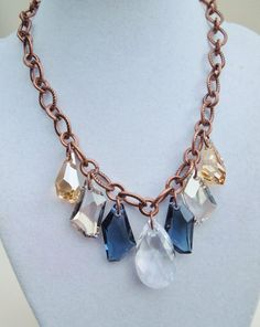 Montana Sky - Bold Statement Necklace - Copper and Multicolored Crystal. $46.00, via Etsy.
