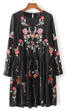 Floral Embroidered Graphic Pleated Long Sleeve Dress