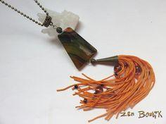 Collier Sautoir Agate Striée trapèze et Tassel perlé par ZenBoutik
