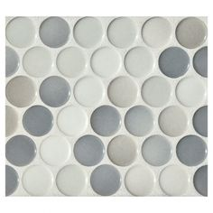 "Complete Tile Collection Penny Round Mosaic - Graphite Blend - Gloss, 1"" Round Glazed Porcelain Penny Mosaic Tile, Anti-Microbial, Anti-Odor, Anti-Staining Technology, MI#: 063-Z1-250-029, Color: Graphite Blend"