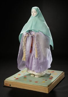 Japanese Portrait Ningyo of Priestess Lady in Original Robes Rare Antique, Antique Dolls, Oriental, White Slippers, Showa Era, Clothes Line, Doll Accessories, Auction, The Originals