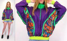 Vintage 90s Neon Bright Abstract Graffiti Jacket Pullover Half Zip Windbreaker Hotdogger Bomber Hip Hop Fresh Prince Hipster Medium Large XL by BlueFridayVintage