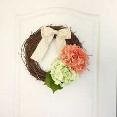 Mother's Day Wreath. Rustic Flower and Burlap Bow Wreath. Wreath with Burlap Bow. Door Wreath. Spring. Summer. Gift. by LowCountryHomeDecor on Etsy https://www.etsy.com/listing/230179861/mothers-day-wreath-rustic-flower-and