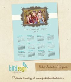 INSTANT DOWNLOAD 8x10 Calendar template 2013 vintage por birdesign