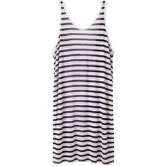 T by Alexander Wang Striped Linen Dress ($120) ❤ liked on Polyvore featuring dresses, tops, vestidos, white linen dress, striped tank dress, white day dress, striped dress and white tank dress