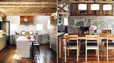 my future barn chic home Barn Kitchen, Stone Kitchen, Wooden Kitchen, Kitchen Dining, Nice Kitchen, Rustic Kitchen, Berry College, Converted Barn, True Homes
