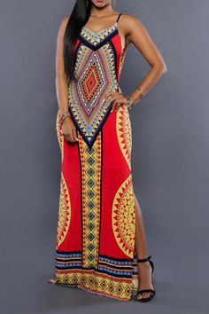 Backless Geometric Print Side Slit Harness Dress
