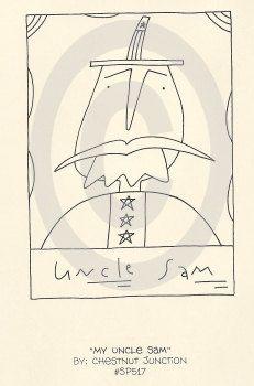 My Uncle Sam epattern...primitive stitchery embroidery pattern...punch hooking chart...PDF...1.99