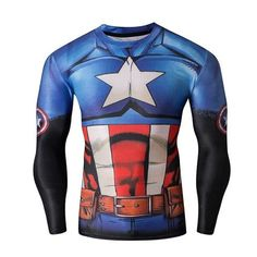 SuperHero Compression Long Sleeve T-Shirt Captain America Quick Dry Form Fit