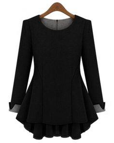 Stylish Scoop Neck Long Sleeve Color Block Ruffled Blouse For Women Blouses | RoseGal.com Mobile