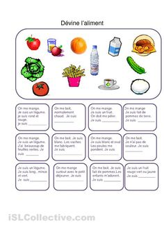 Devinettes sur les aliments(fin CP / CE1)