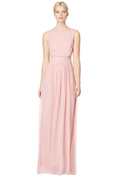 Floor length blush gown with peek a boo  cut out // Blush Through Gown By Nicole Miller