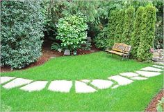Love this look for a back yard lawn walkway.