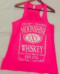 165762856fe59 Customized Listing For Ashley- Neon Pink - Vintage Original Moonshine  Whiskey XXX Get Your Shine On Flowy Florida Georgia Line Tank Top