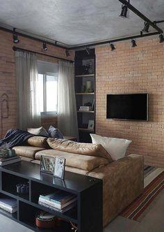 Sala pequena aconchegante estilo Industrial