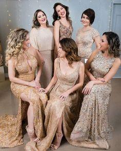 PALETA DE CORES DO NUDE AO DOURADO Bridesmaid Dresses, Wedding Dresses, Wedding Day, Marriage, Nude, Party, Color, Instagram, Glamour