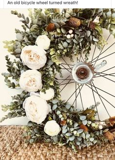 Summer wreaths (Love this bicycle one) – Blumen ° Deko – flowers Creation Deco, Deco Floral, Floral Foam, Art Floral, Vintage Floral, Vintage Decor, Front Door Decor, Entryway Decor, Office Decor