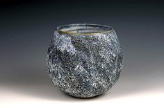Ceramics by Andrew Palin at Studiopottery.co.uk - 2009. \_Seascape\_ thrown stoneware cobalt volcanic vase.  Height 16cm x Width 16cm