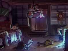 Bill cipher,reverse bill ,Mabel and dipper <<< Accept for Dipper over there everyone fell asleep in such strange positions. Given that I was asleep on a school desk not long ago, but still! XD