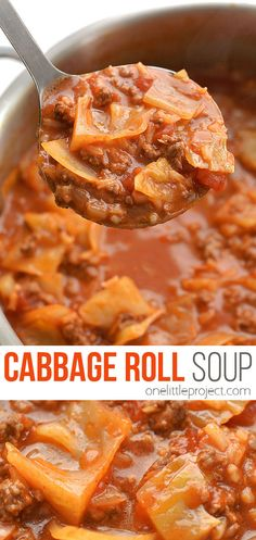 This cabbage roll soup is DELICIOUS, easy and tastes just like cabbage rolls! With simple ingredients and minimal chopping it's a great weeknight dinner! Lentil Soup Recipes, Chicken Soup Recipes, Cabbage Recipes, Healthy Soup Recipes, Cooking Recipes, Fun Recipes, Barbecue Recipes, Barbecue Sauce, Grilling Recipes