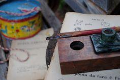caneta pena e tinteiro escolar usado decada de 40