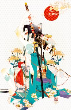 【title】Samurai and Geisha | 【comment】 for ninja*arts { Samurai Geisha Art Show } in Samurai Geisha Fest - Yoshini Ohtani