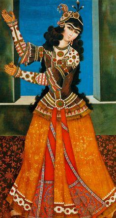 Dancing girl Persian miniature Hermitage Museum, St Petersburg, Russia