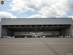 UPS cargo plane in a hangar at the UPS WorldPort in the USA