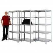 value galvanised shelving 300mm, 450mm, or 600mm deep. storage solution in a garage, workshop, or small warehouse.