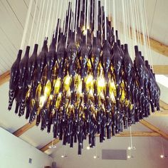 25 half wine bottles chandelier