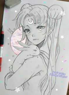 young woman or girl carrying 'round a bunny (white?) over her shoulder (Yes, this is a drawing of Sailor Moon)