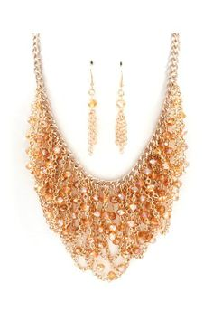 Pretty Rose Gold Necklace & Earrings.