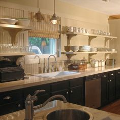 Throwing it back to the kitchen we remodeled in 2008.  I loved open shelving then and still love it today... #tbt #kitchen