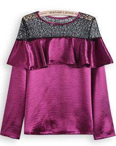 Purple Long Sleeve Contrast Hollow Ruffle Blouse US$30.33